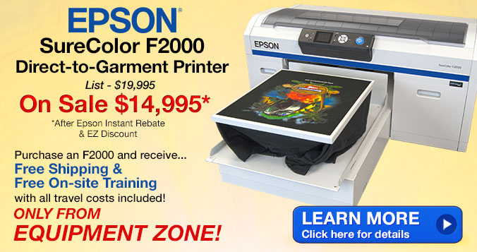 Epson SureColor F2000 Direct-to-Garment Printer Rebate
